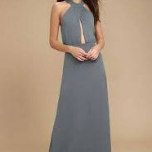NWT Lulu's Halter Cut Out Maxi Dress Cross Straps